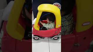 Jd riding on a toy car for rent in sm lanang