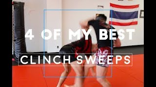 4 BEST Muay Thai Clinch SWEEPS (Real Time Sparring)