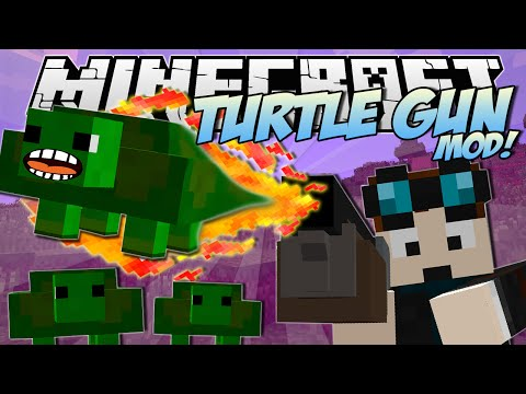 Minecraft | TURTLE GUN MOD! (Exploding, Bouncy Turtle FUN!) | Mod Showcase