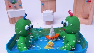 TAKE CARE OF GREEN BABY TWINS - Play Doh & Clay Stop Motion Cartoons For Kids