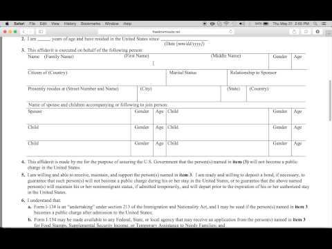 Download Uscis Affidavit Of Support | Form I-134 | Pdf