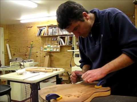 Carving the back, scraping (Guitar building Part 17)
