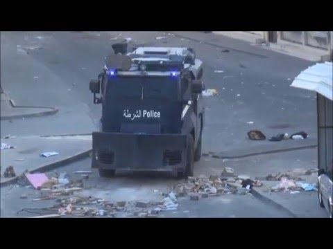 Bahrain : Mobilization of Riot Police Surrounding Protesters on Anniversary of Revolution