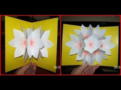 Цветы в открытке из бумаги своими руками