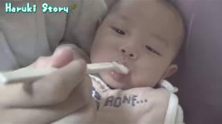 生後四か月・初めての離乳食 10倍粥 - baby vlog