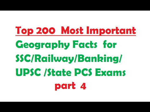 Top 200 Geography Facts for SSC-Railway-Banking-UPSC -PCS Exams part 4