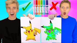3 Marker Challenge Sis VS Bro!! (Learn How to Draw: Pokemon, Dumbo, Frozen 2) Best DIY Wins $10,000