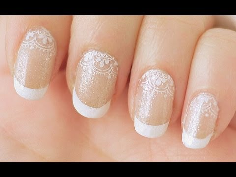 Lace French Manicure Nail Tutorial (Konad Stamping)