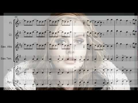 ADELE  Set Fire To The Rain  Arrangement for flute, sax, trumpet, trombone and clarinet