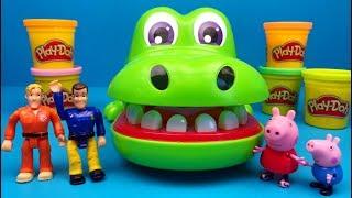 Brandweerman Sam en Peppa Big gaan met Play-Doh en de Krokodil spelen