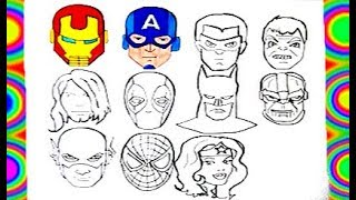 ALL Superheroes  face Mask Coloring  Thor, Spiderman, Hulk, Flash, Thanos, batman, capitan america e