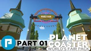 🎟️ Entrance Area - Planet Coaster World's Fair Pack Build - Epcot Inspired Theme Park Series Part 1