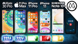 Huawei Mate 30 Pro vs iPhone 11 Pro Max / iPhone 11 / Samsung Note 10+ Battery Test