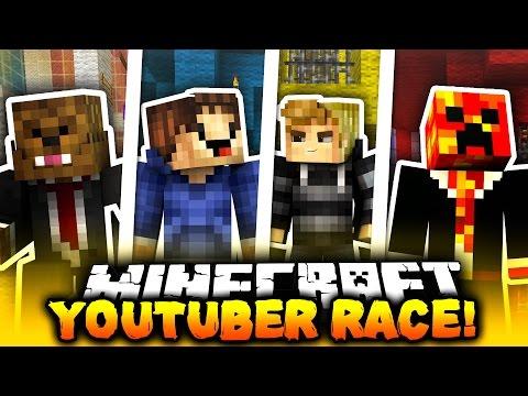 Minecraft 1v1v1v1 YOUTUBER PARKOUR RACE!   (RACE TO THE TOP!)