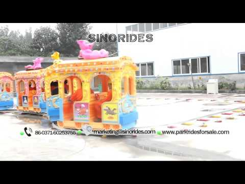 Kids electric track train rides for funfairs