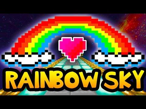 Minecraft RAINBOW SKY Parkour Race w/ Preston and Woofless