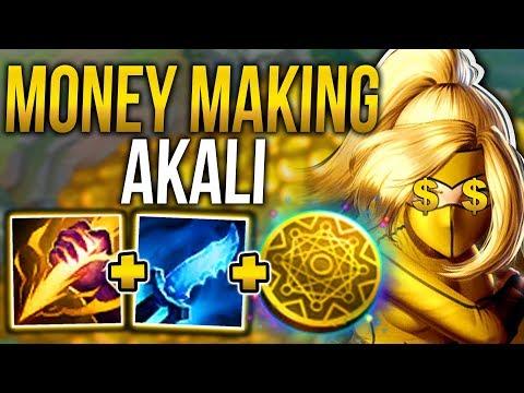MONEY MAKING AKALI! THE MOST BROKEN GOLD FARMING STRATEGY! - League of Legends