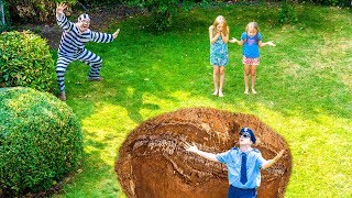 Amelia and Avelina save the police officer. Funny garden adventure.