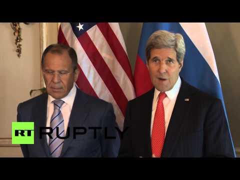 France: John Kerry shakes hands with Sergey Lavrov