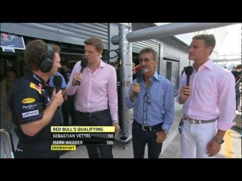 David Coulthard, Jake Humphrey and Christian Horner at Red Bull Racing Simulator