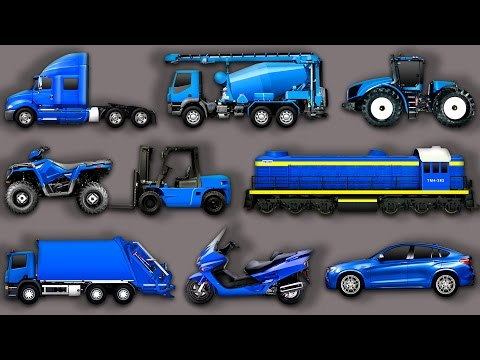 Learning Street Vehicles for Kids Cars and Trucks Garbage truck Tractor Train Scooter ATV Transport