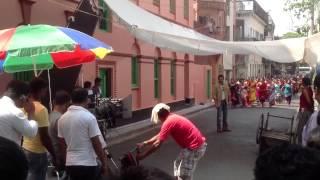 Soham Chakraborty filming on location in Kolkata (Calcutta)