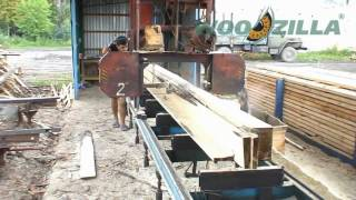 Sawing of fir / spruce logs with a band sawmill | Exports of timber from Ukraine