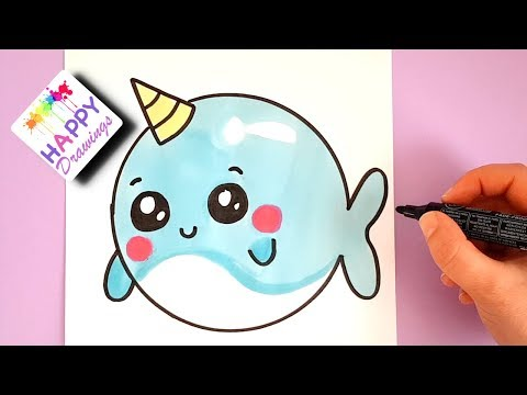 HOW TO DRAW A CUTE CARTOON UNICORN WAHLE EASY STEP BY STEP