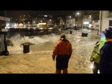 Storm tide strikes St Ives harbour