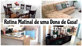 Rotina Matinal de uma Dona de Casa   Organizei toda a casa   Fiz Almoço!