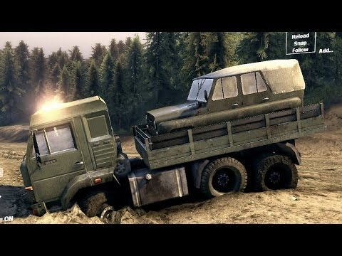 Spin Tires 2013 Tech Demo - Kamaz Transporting a UAZ Off Road