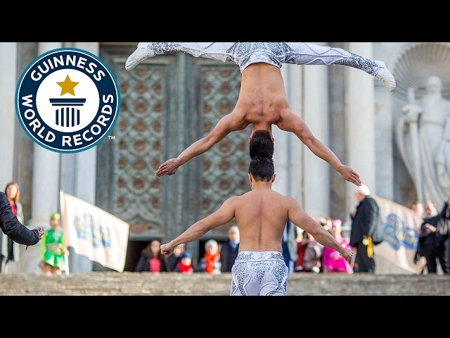 Most stairs climbed while balancing a person on the head - Guinness World Records