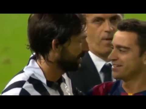 Andrea Pirlo and Xavi Embrace after Juventus vs Barcelona 1-3  UCL Final