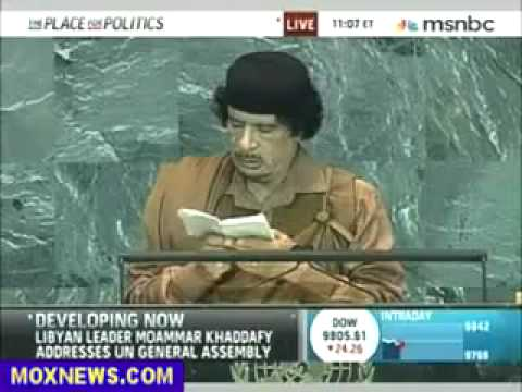 Muammar Abu Minyar al Gaddafi speech at United Nations General Assembly in New York 2009 part 1 of 9