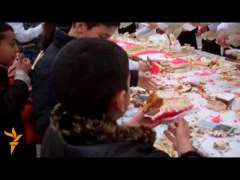 Ilham Aliyev's Birthday - azeri people starving and fighting for the 12 ton cake