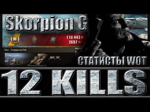 Skorpion G 12 фрагов. Статисты WoT. Энск - лучший бой Rheinmetall Skorpion G World of Tanks.
