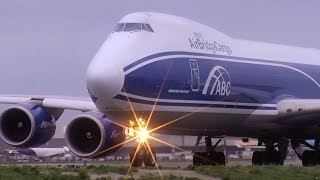 Boeing 747-8F - Air Bridge Cargo | Close-up at taxiway Q! (HD)