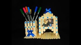 Ice cream stick Pen stand & Photo Frame _ Craft with Popsicle stick