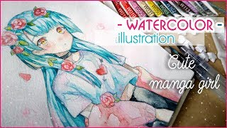 Watercolor Painting Timelapse Manga girl