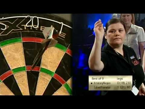 Irina Armstrong MISSES the Dartboard and Referee LAUGHS - 2010 BDO Dutch Open