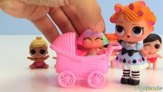 LOL Surprise Confetti Pop Dolls and Lil Sisters in Strollers Toy Video
