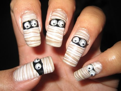 Halloween Mummy Water Marble Nail Art Tutorial