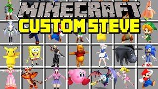 Minecraft CUSTOM STEVE MOD! | PLAY AS ANIME STEVE, RED STEVE, & MORE! | Modded Mini-Game