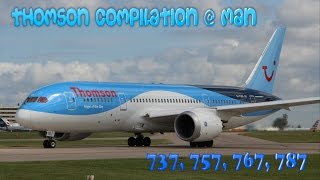 A Thomson Airways takeoff compilation at Manchester | 737, 757, 767, 787 | RWY23L