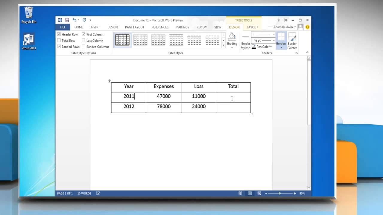 How to create formulas in tables in microsoft word 2013 for Table design ms word