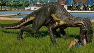Jurassic World Evolution - Indoraptor & Indominus Rex Camouflage Breakout & Fight! (1080p 60FPS)