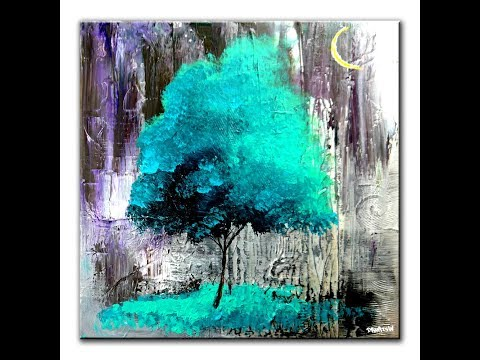 PAINTING A TREE ON ABSTRACT BACKGROUND - STEP BY STEP ART TUTORIAL BY DRANITSIN