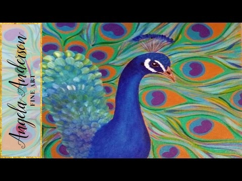 How to Paint a Peacock - Easy Free Acrylic Tutorial #PawgustArt #Painting