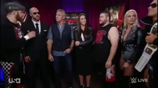 The Miz, Kevin Owens, and Cesaro complain to Stephanie and Shane McMahon