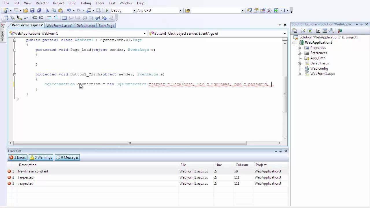 Sharp C# ASP.net tutorial 2 (Inserting Data into a SQL database ...